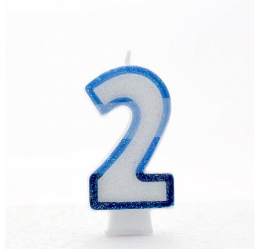 2 Number Shape Candle - Blue