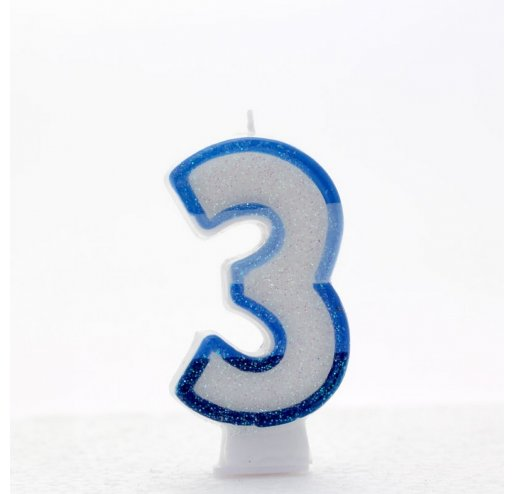3 Number Shape Candle - Blue