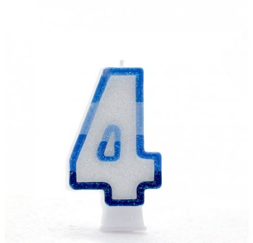 4 Number Shape Candle - Blue