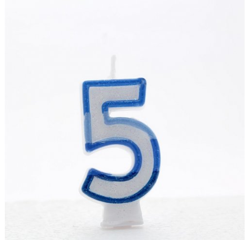 5 Number Shape Candle - Blue