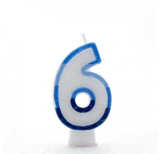 6 Number Shape Candle - Blue