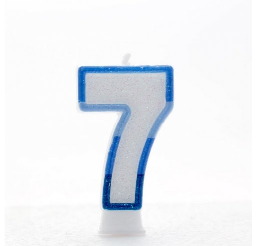 7 Number Shape Candle - Blue