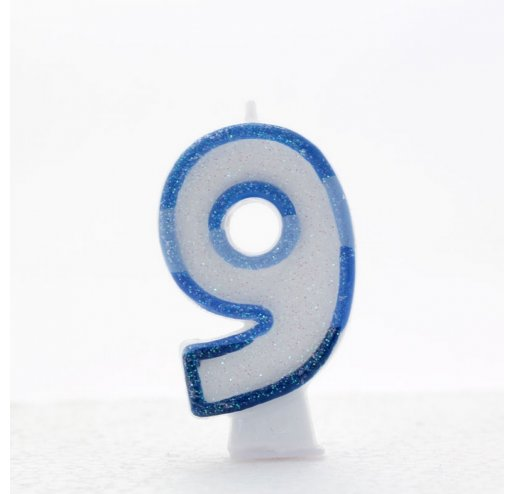 9 Number Shape Candle - Blue