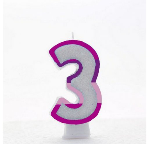 3 Number Shape Candle - Pink