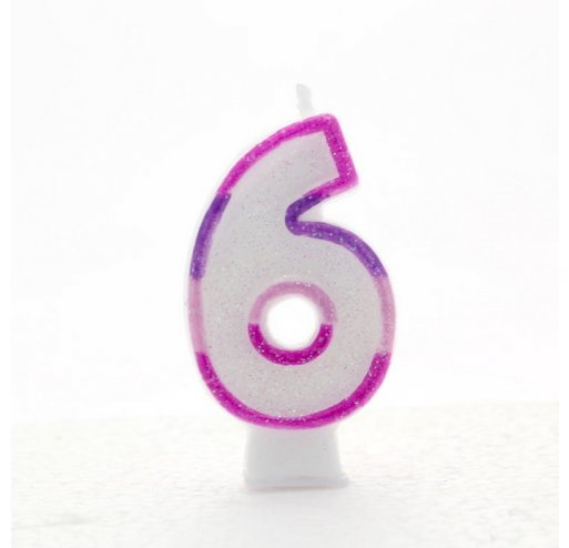 6 Number Shape Candle - Pink