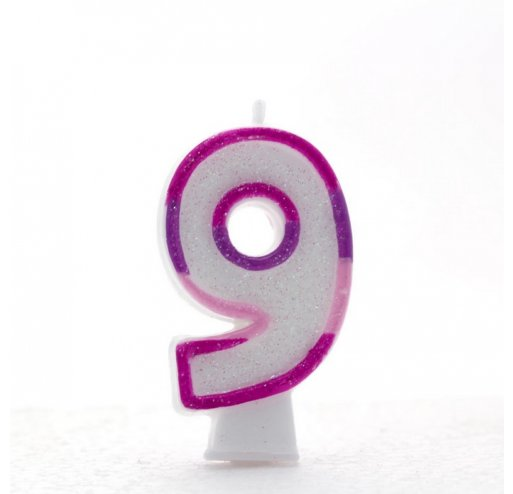9 Number Shape Candle - Pink