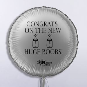 "18"" Rude Balloon Foil Congrats On The Huge Boobs - Silver"