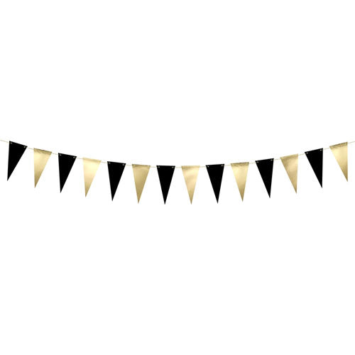 Black & Gold Metallic Bunting