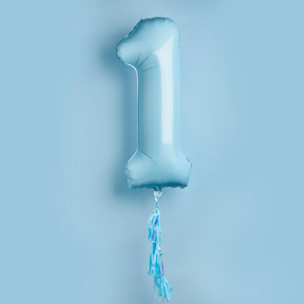 1 Jumbo Number Baby Blue Foil Balloon