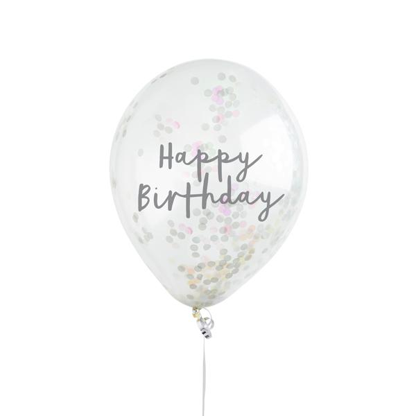 5 Iridescent Happy Birthday Confetti Balloons