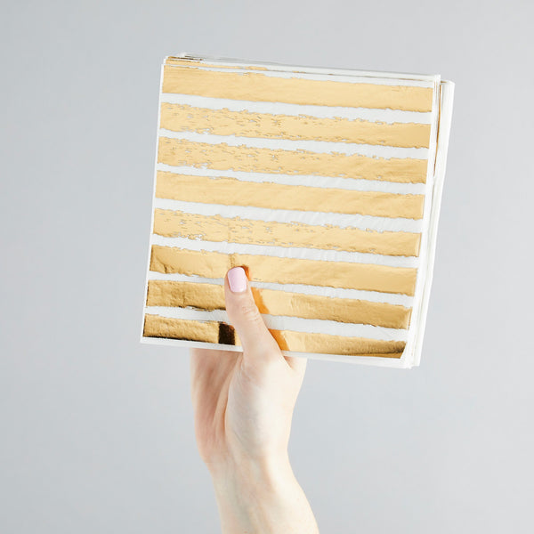 20 Gold Striped Paper Napkins