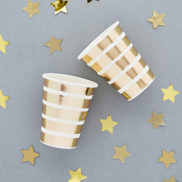 10 Gold Striped Paper Cups