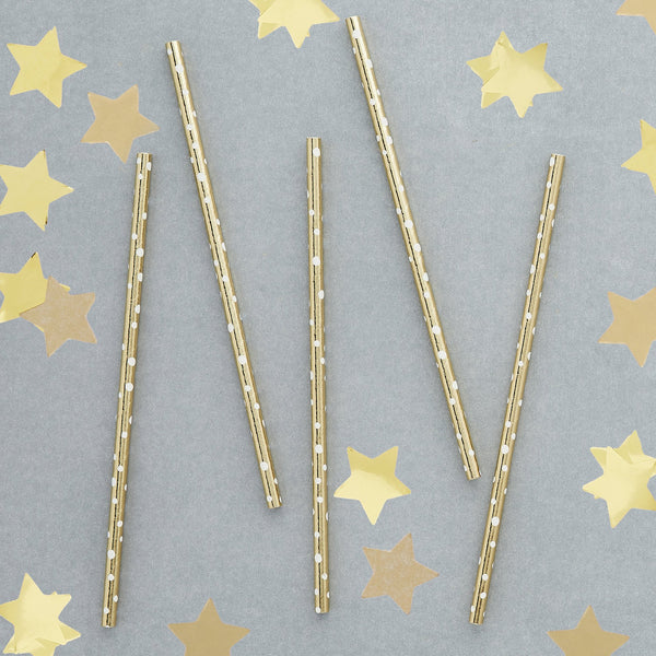 20 Gold Dot Paper Straws