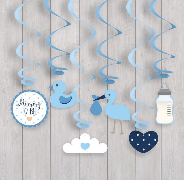 Oh Baby Swirl Decorations - Blue