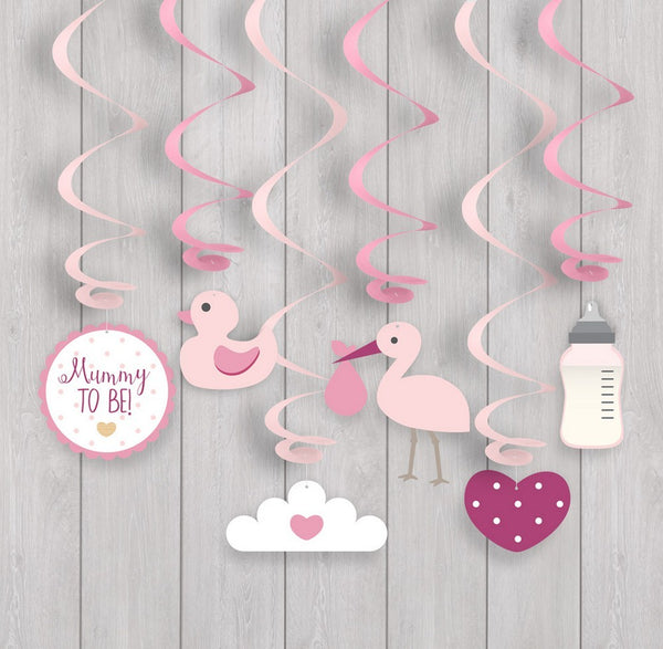 Oh Baby Swirl Decorations - Pink