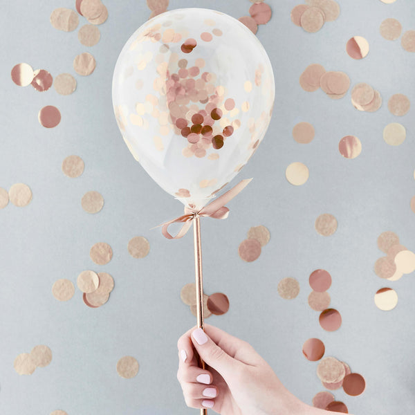 5 Rose Gold Mini Confetti Balloon Wands