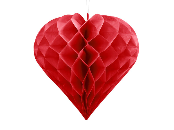 Red Honeycomb Heart - 20cm