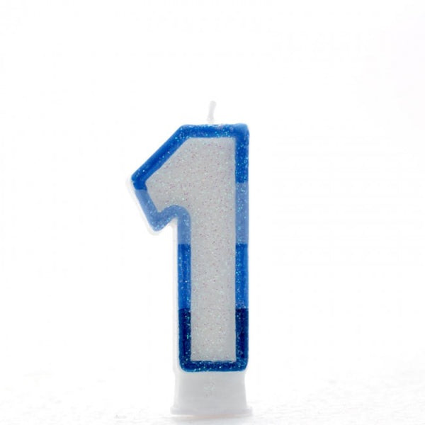 1 Number Shape Candle - Blue