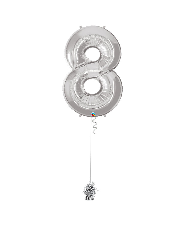 Inflated Jumbo Number 8 Silver