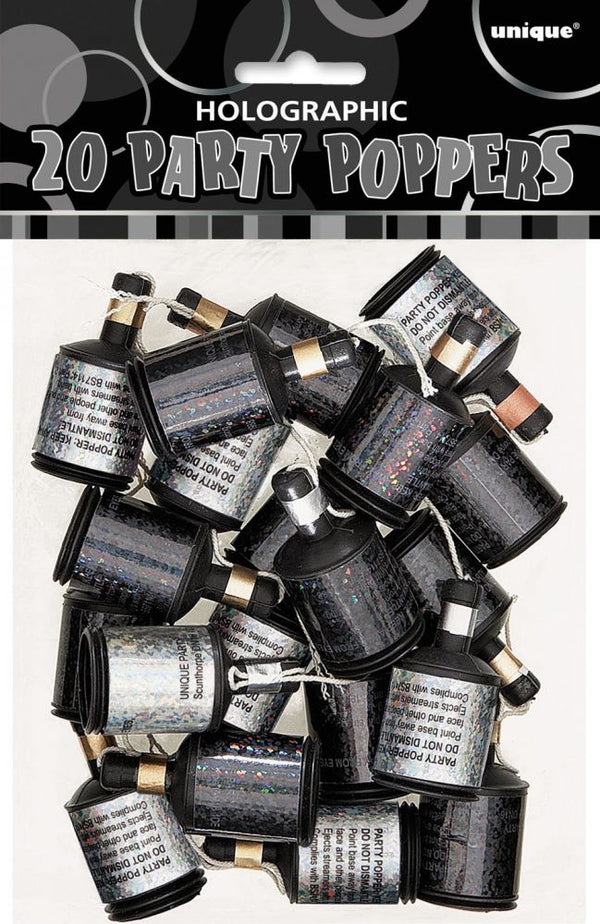 Black & Silver Holographic Party Poppers