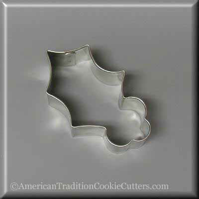 "3"" Holly Leaf Metal Cookie Cutter - American Tradition Cookie Cutters"