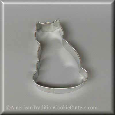 "3"" Pussy Cat Metal Cookie Cutter - American Tradition Cookie Cutters"