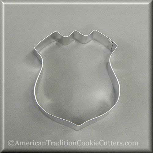 "3.5"" Police Badge or Interstate Sign Metal Cookie Cutter - American Tradition Cookie Cutters"