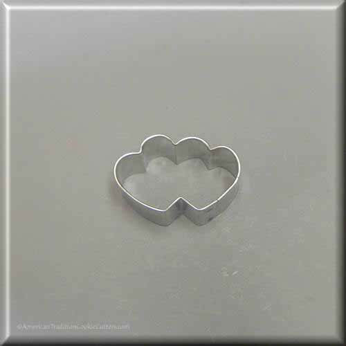 "1.75"" Mini Double Heart Metal Cookie Cutter"