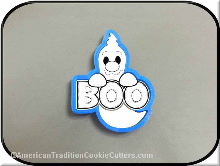 "4.5 ""Ghost with Boo Sign 3D Cortador de galletas de plástico impreso-americantraditioncookiecutters"