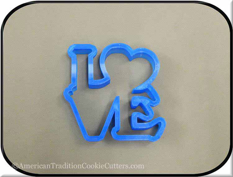 "4.5"" Love Word with Heart 3D Printed Plastic Cookie Cutter"