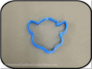 "3.75"" Cow Head 3D Printed Plastic Cookie Cutter - American Tradition Cookie Cutters"