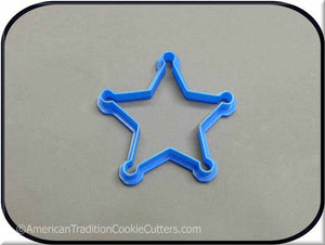 "3.5"" Sheriff Star Badge 3D Printed Plastic Cookie Cutter - American Tradition Cookie Cutters"