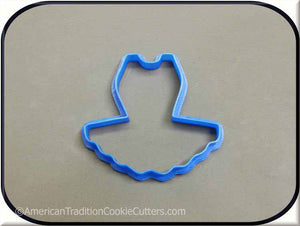 "3.5"" Tutu 3D Printed Plastic Cookie Cutter - American Tradition Cookie Cutters"