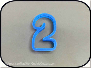 "3"" Number Two 3D Printed Plastic Cookie Cutter - American Tradition Cookie Cutters"