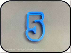 "3"" Number Five 3D Printed Plastic Cookie Cutter - American Tradition Cookie Cutters"