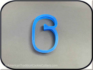 "3"" Number Six 3D Printed Plastic Cookie Cutter - American Tradition Cookie Cutters"