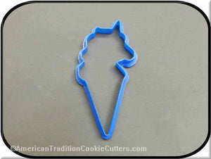 "4.75"" Unicorn Ice Cream Cone 3D Printed Plastic Cookie Cutter-americantraditioncookiecutters"