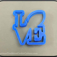 "4"" Football Love 3D Printed Plastic Cookie Cutter-americantraditioncookiecutters"