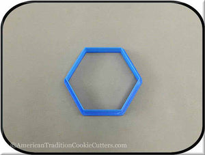 "3"" Hexagon Biscuit 3D Printed Plastic Cookie Cutter - American Tradition Cookie Cutters"