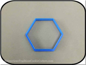 "3.5"" Hexagon Biscuit 3D Printed Plastic Cookie Cutter"