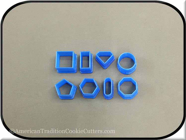 Set of 8 Mini Mini Geo Shapes 3D Printed Plastic Cookie Cutters-americantraditioncookiecutters