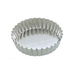 CAKE PAN ROUND FLUTED 100x30MM LOOSE BASE