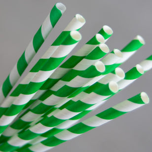 PAPER REGULAR STRAW - GREEN/WHITE STRIPE (250)