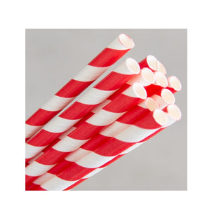 PAPER REGULAR STRAW - RED/WHITE STRIPE (250)
