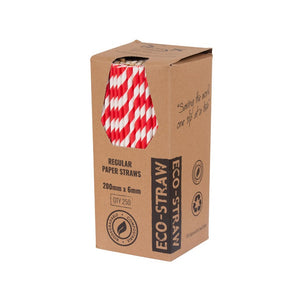 EcoStraw- Regular Red/ White Stripe Paper Straw (250)