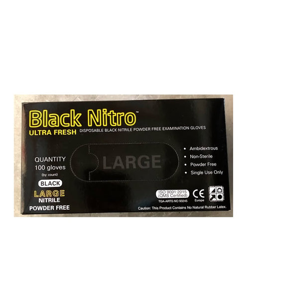 BLACK NITRILE P/FREE GLOVES - LARGE (100)