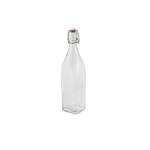 GLASS BOTTLE 1LTR SQUARE CLEAR
