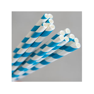 EcoStraw- Regular Blue/ White Stripe Paper Straw (250)