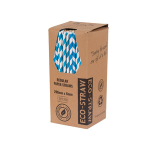 PAPER REGULAR STRAW - BLUE/WHITE STRIPE (250)