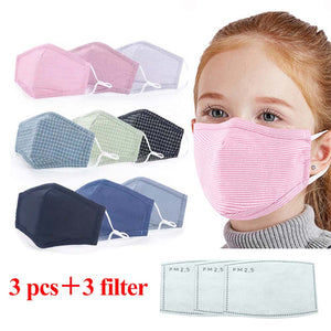 3 PC Kids Cotton Mask With Filters - Choice of Colors